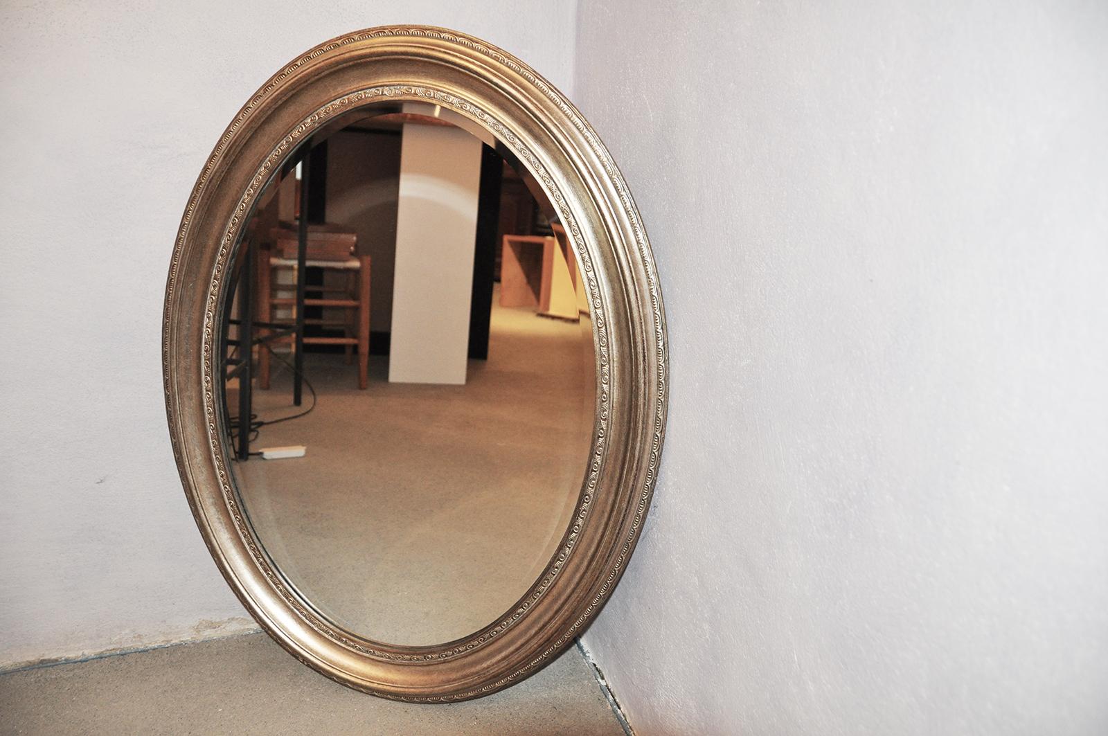 Oval spiegel antiksilber silber 66x56cm zierspiegel for Spiegel mit bildschirm