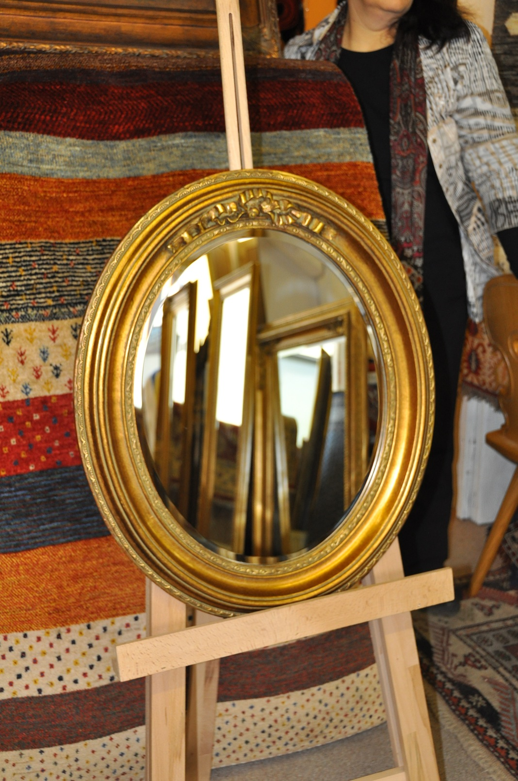 wandspiegel oval 55 65 cm gold zierspiegel prunk barock ebay. Black Bedroom Furniture Sets. Home Design Ideas