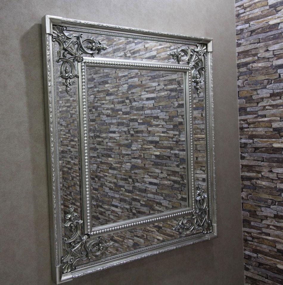 wandspiegel mit verzierungen antik silber 41 x 100 cm bregenz. Black Bedroom Furniture Sets. Home Design Ideas