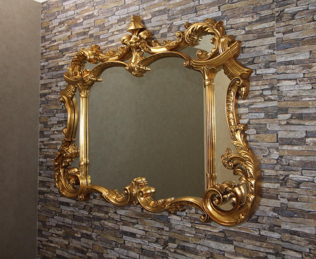 Klassikspiegel wandspiegel spiegel antikgold gold 129x100 for Spiegel mit bildschirm