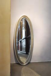 Wandspiegel Oval Antik-Silber 100x40 cm